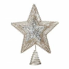Buy *18484U - Gold & Silver Star Glitter Metal Tree Topper