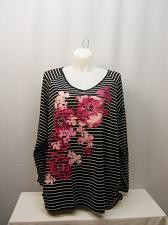 Buy Womens Knit Top PLUS SIZE 5X JUST MY SIZE Striped Glitter Floral Print V-Neck