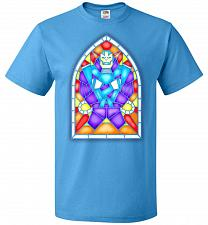 Buy Apocolypse Stained Glass Unisex T-Shirt Pop Culture Graphic Tee (XL/Pacific Blue) Hum