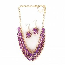 "Buy *16113U - Radiant Orchid Circlet 19"" Necklace & Hookback Earrings Jewelry Set"