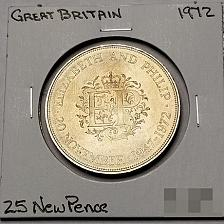 Buy 1972 Great Britain 25 New Pence World Coin - Royal Silver Wedding Anniv