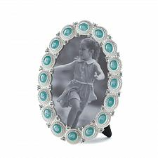 Buy *16935U - Turquoise Blue Sea Cabochon Oval Picture Frame Holds 4x6 Photo