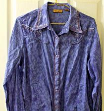 Buy Ladies Wrangler Western Shirt Purple White Brown Piping Purple Snaps Size M