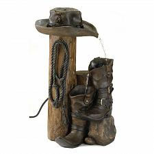Buy 13056U - Western Cowboy Hat & Boots Weathered Finish Water Fountain Yard Art