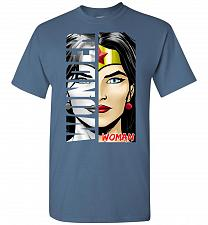 Buy Wonder Woman Unisex T-Shirt Pop Culture Graphic Tee (S/Indigo Blue) Humor Funny Nerdy