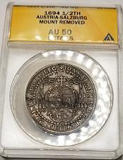 Buy 1694 Austrian States Salzburg 1/2 Thaler World Silver Coin - ANACS AU50 Details