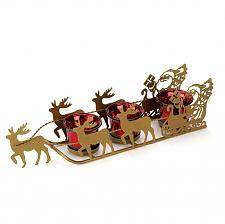 Buy *15832U - Shimmering Red Candle Cups Golden Metal Sleigh Candleholder