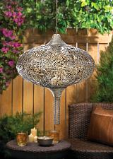 Buy *15534U - Exotic Plume Metal Design Hanging Candle Lantern