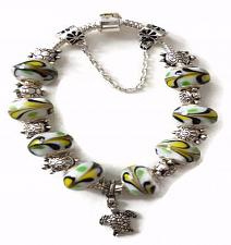 Buy Turtle European Silver Charm Bracelet With White Yellow Black Murano Beads