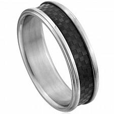 Buy coi Jewelry Cobalt Chrome Ring With Carbon Fiber - CR2231(Size:US5)