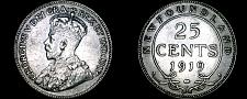 Buy 1919-C Newfoundland 25 Cent World Silver Coin - Canada - Lot#9225