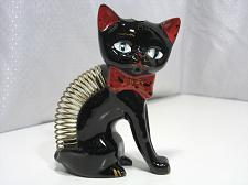 """Buy Vintage Black Cat Coil Letter Mail Holder 6"""" tall Red ware Pottery Japan Retro"""