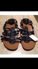 Buy Black Strappy Woman's flat Sandals Size 9w willamena