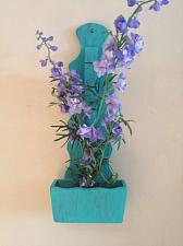 Buy wooden turquoise note holder floral box with silk flowers