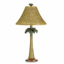 "Buy 37989U - Rattan Rope Palm Tree Base Open Weave Shade 25"" Table Lamp"