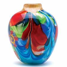 Buy 12982U - Floral Fantasia Colorful Art Glass Vase Decorative Accent