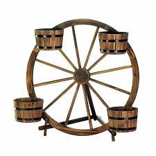 Buy *18435U - Wagon Wheel 4 Barrel Fir Wood Planter Display
