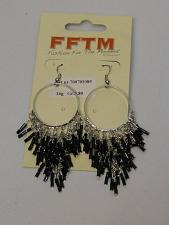 Buy Women Black Beaded Earrings Drop Dangle Silver Tones Hook Fasteners FASHION FFTM