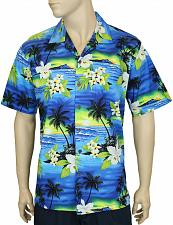 Buy Men's Blue Cotton Aloha Hawaii Sunset Shirt #FA-04311
