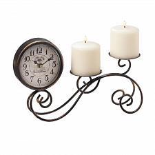 Buy *18000U - Scrollwork Black Iron Table Clock & Pillar Candle Holder
