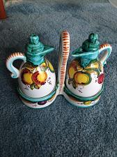 Buy Oil & Vinegar Caddy Set Decorative Ceramic Containers with Tops & Carrying Caddy