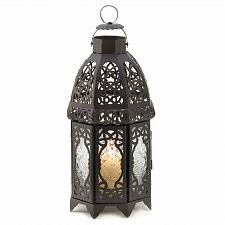 Buy 13365U - Moroccan Style Black Lattice Iron Candle Lantern Pressed Glass Panels