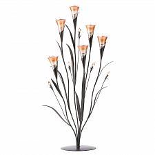 Buy 13918U - Dawn Blossom 6 Stem Glass Cup Metal Tea Light Candle Holder