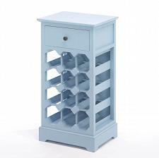 Buy *16135U - Somerset Blue MDF Wood 12 Bottle Wine Cabinet w/Drawer