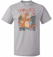 Buy Fire Kaiju Unisex T-Shirt Pop Culture Graphic Tee (4XL/Silver) Humor Funny Nerdy Geek