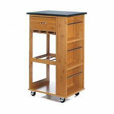 Buy *18319U - Black Marble-Top Brown Wood Kitchen Cart