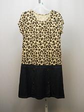 Buy Girls Dress Drop Waist Animal Print Bodice Size XL 14/16 Scoop Neck Short Sleeve