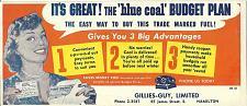 Buy Vintage Blue Coal Ink Blotter Gillies Guy James St Hamilton Ontario Canada Large