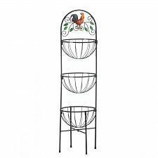 Buy *17861U - Rooster Embellished 3-Tier Iron Kitchen Basket Rack