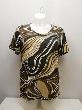 Buy Women Knit Top PLUS SIZE 2X SARA MORGAN Brown Swirls Scoop Neck Short Sleeves