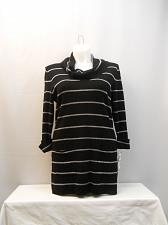 Buy Women Tunic Sweater PLUS SIZE 1X INC Black Silver Striped Cowl Neck 3/4 Sleeve