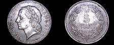 Buy 1947-B French 5 Franc World Coin - France - Closed 9