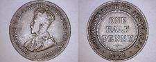 Buy 1921 Australian Half (1/2) Penny World Coin - Australia