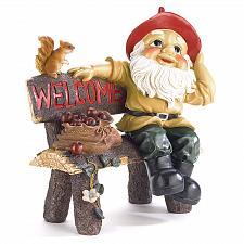 Buy 39265U - Garden Gnome Squirrel On Bench Welcome Sign Statue Yard Art
