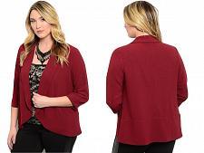 Buy SHOP THE TRENDS Women's Blazer Wrap Front Solid Burgundy SIZE 2XL