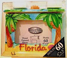 "Buy Insights Hand Painted 4""x6"" Photo FrameBox Hold 60 Photos Florida Palm Trees NIP"
