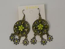Buy Women Round Earrings Drop Dangle Green Rhinestones Brassy Gold Tones Hook Fasten