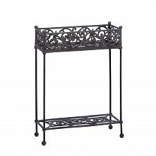 Buy *15519U - Rectangle Carved Design Two Tier Cast Iron Plant Stand