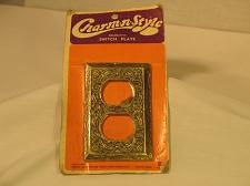 Buy Vintage Brass Light Outlet Cover Plate Charm n style Detailed NOS New Old Stock