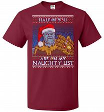 Buy Half Of You Are On My Naughty List Unisex T-Shirt Pop Culture Graphic Tee (L/Cardinal