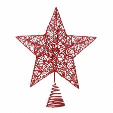 Buy *18482U - Red Star Glitter Finish Metal Tree Topper