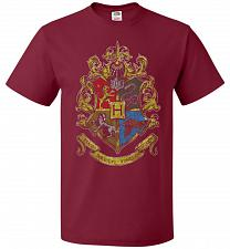 Buy Hogwart's Crest Adult Unisex T-Shirt Pop Culture Graphic Tee (M/Cardinal) Humor Funny