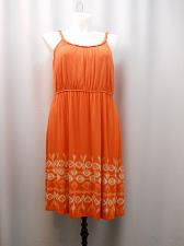 Buy STYLE&CO Womens Dress PLUS SIZE 1X Orange Braided Spaghetti Straps Elastic Waist