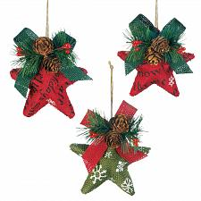 Buy *18129U - Christmas Stars Burlap & Pinecones Tree Ornament 3pc Set