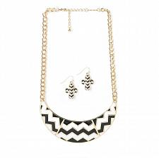 "Buy *16108U - Chevron Black White Collar 17"" Necklace & Hookback Earrings Set"