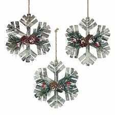 Buy *18110U - White Rustic Wood Snowflake Pinecone Berry Tree Ornament 3pc Set